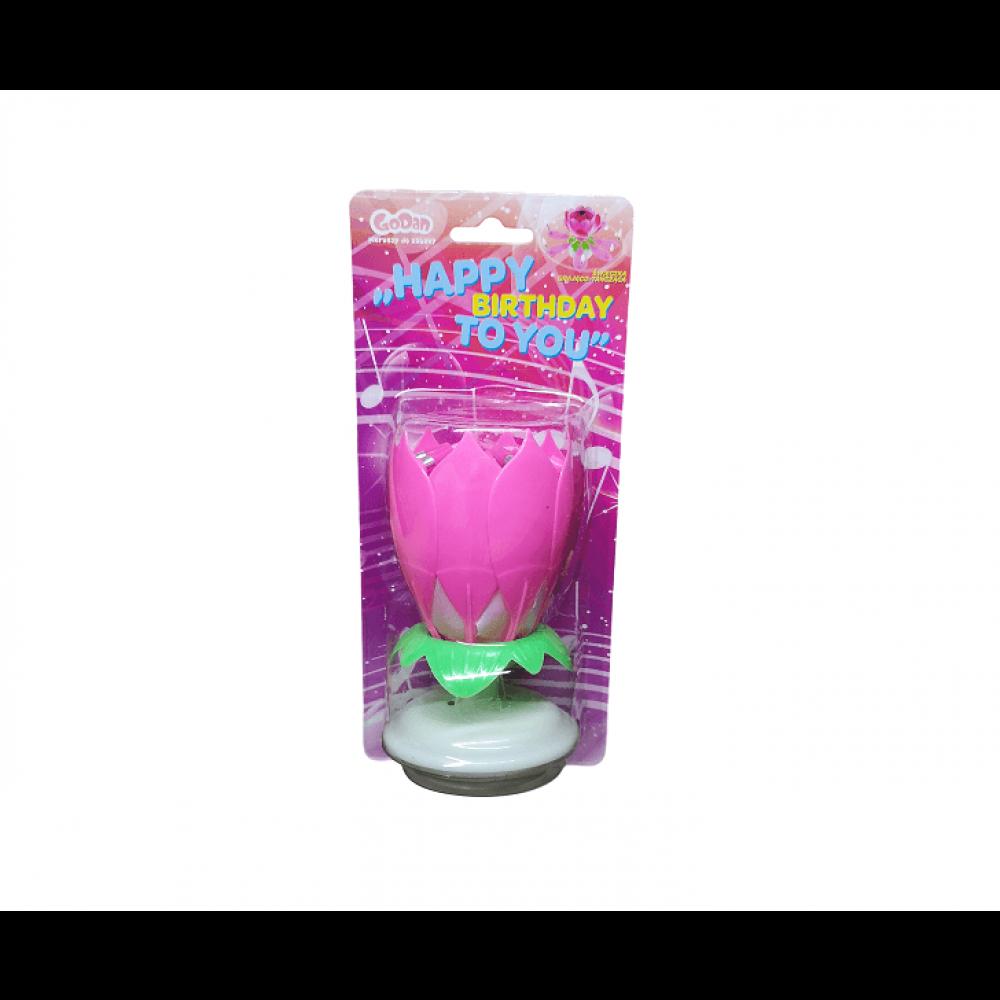 Sviečka na torty RUŽA - ružová